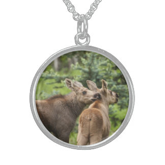 Bonded Moose Calves Sterling Silver Necklace