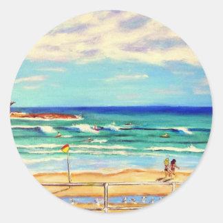 Bondi Beach Art Classic Round Sticker