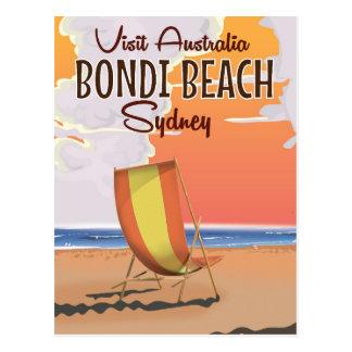 Bondi Beach vintage Travel Poster Postcard