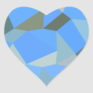 Bondi Blue Abstract Low Polygon Background Heart Sticker