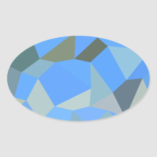 Bondi Blue Abstract Low Polygon Background Oval Sticker