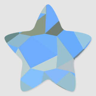 Bondi Blue Abstract Low Polygon Background Star Sticker