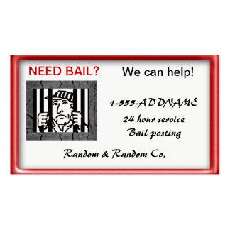 bondsperson de la fianza tarjetas de visita