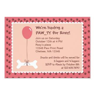 Bone and Balloon Dog Birthday Girl Party Invitatio Card