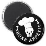 Bone Appetit Skeleton Chef 2 Inch Round Magnet