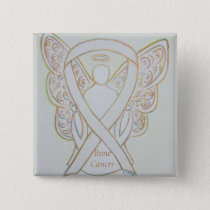 Bone Cancer Angel White Awareness Ribbon Pins