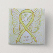 Bone Cancer Angel Yellow Awareness Ribbon Pins