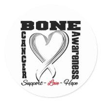 Bone Cancer Awareness Brushed Heart Ribbon Classic Round Sticker
