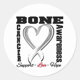 Bone Cancer Awareness Brushed Heart Ribbon Stickers