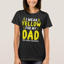 Bone Cancer Awareness Dad Papa Yellow Ribbon T-Shirt