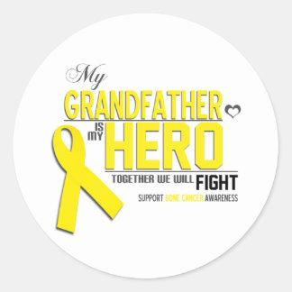 Bone Cancer Awareness: grandfather Classic Round Sticker