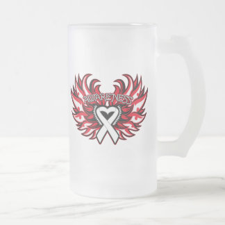 Bone Cancer Awareness Heart Wings.png 16 Oz Frosted Glass Beer Mug