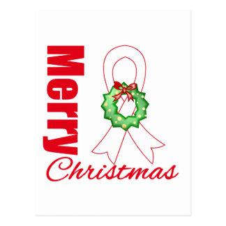 Bone Cancer Awareness Merry Christmas Ribbon Postcard