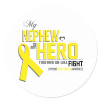 Bone Cancer Awareness: nephew Classic Round Sticker
