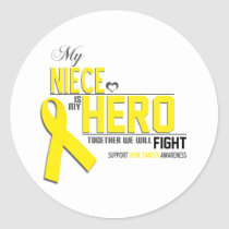 Bone Cancer Awareness: niece Classic Round Sticker