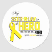 Bone Cancer Awareness: sister in law Classic Round Sticker
