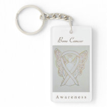 Bone Cancer Awareness White Ribbon Angel Keychain