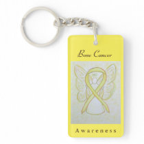 Bone Cancer Awareness Yellow Ribbon Angel Keychain