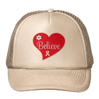 Bone Cancer BELIEVE Red Heart Hats
