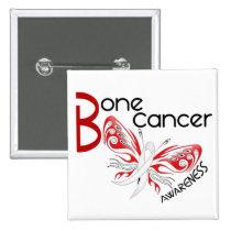 Bone Cancer BUTTERFLY 3 Awareness Pinback Button