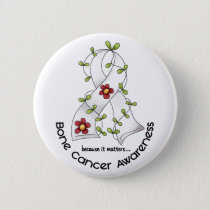 Bone Cancer FLOWER RIBBON 1 Pinback Button
