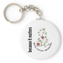 Bone Cancer Flower Ribbon 3 Keychain