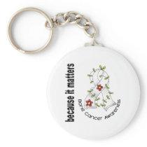 Bone Cancer Flower Ribbon 3 Keychain