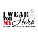 Bone Cancer Hero White Ribbon Postcard