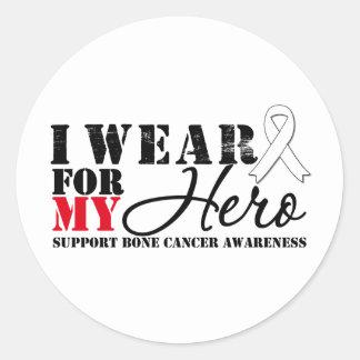 Bone Cancer Hero White Ribbon Round Stickers