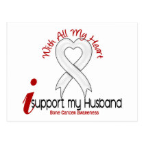 Bone Cancer I Support My Husband Postcard