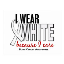 Bone Cancer I Wear White Because I Care 10 Postcard