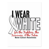 Bone Cancer I Wear White Fighters Survivors Taken Postcard