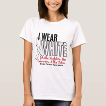 Bone Cancer I Wear White Fighters Survivors Taken T-Shirt