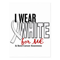Bone Cancer I Wear White For ME 10 Postcard