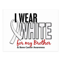 Bone Cancer I Wear White For My Brother 10 Postcard