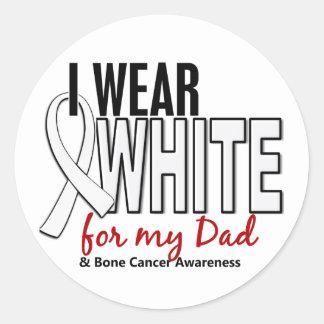 Bone Cancer I Wear White For My Dad 10 Classic Round Sticker