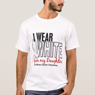 Bone Cancer I Wear White For My Daughter 10 T-Shirt