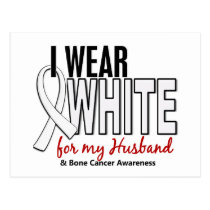 Bone Cancer I Wear White For My Husband 10 Postcard