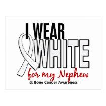 Bone Cancer I Wear White For My Nephew 10 Postcard