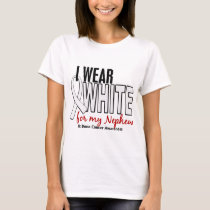 Bone Cancer I Wear White For My Nephew 10 T-Shirt