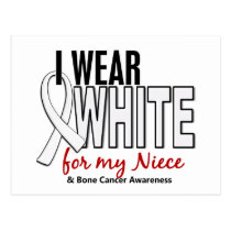 Bone Cancer I Wear White For My Niece 10 Postcard