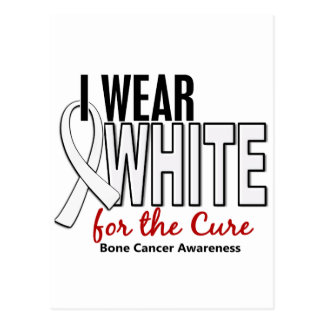Bone Cancer I Wear White For The Cure 10 Postcard