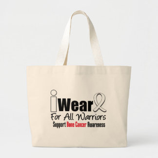 Bone Cancer I Wear White Ribbon For All Warriors Bags