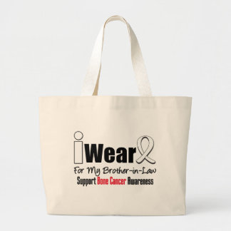 Bone Cancer I Wear White Ribbon For Brother-in-Law Canvas Bags