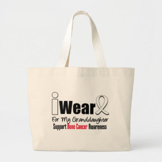 Bone Cancer I Wear White Ribbon For Granddaughter Tote Bags