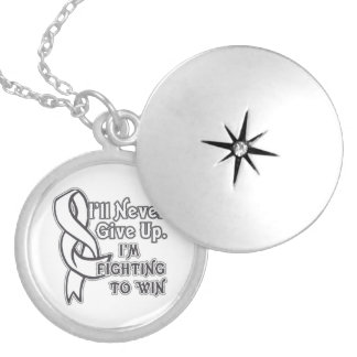Bone Cancer I'll Never Give Up Round Locket Necklace