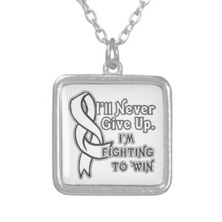 Bone Cancer I'll Never Give Up Square Pendant Necklace