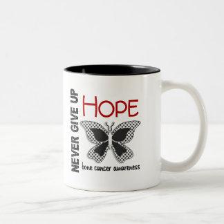 Bone Cancer Never Give Up Hope Butterfly 4.1 Two-Tone Coffee Mug
