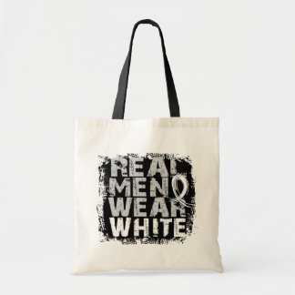 Bone Cancer Real Men Wear White Canvas Bags