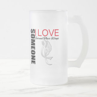 Bone Cancer Someone I Love Earned Her Wings 16 Oz Frosted Glass Beer Mug